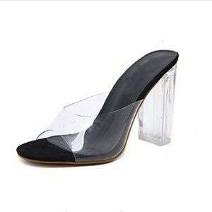 NEW black clear transparent slide heels 8